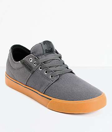 Supra Stacks II Vulc Grey & Gum Canvas Skate Shoes