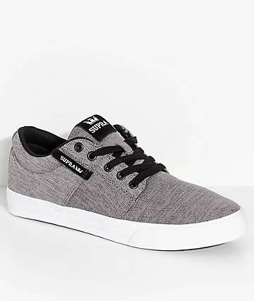 Supra Stacks II Vulc Heather Grey Knit Skate Shoes
