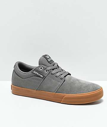 Supra Stacks II Vulc Light Grey & Gum Skate Shoes