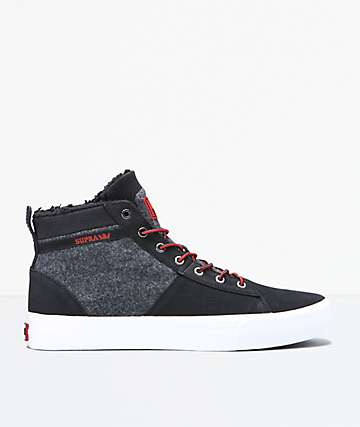 Supra Stacks Mid Black, Red & White Shoes