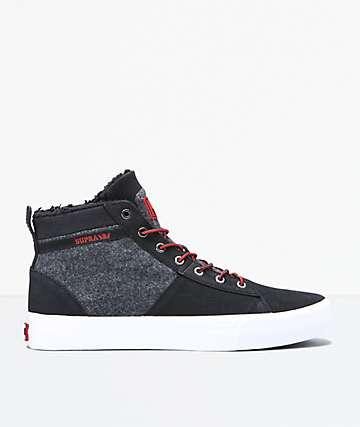 Supra Stacks Mid Black, Red & White Shoes