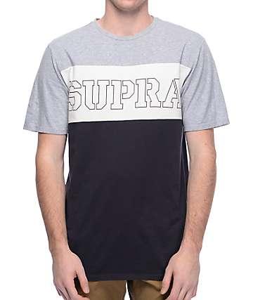 Supra Tri Block Grey, White & Navy T-Shirt