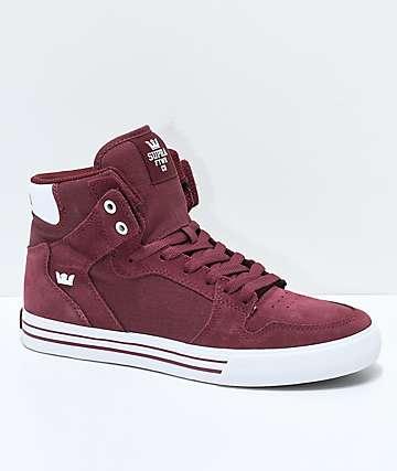 Supra Vaider Andorra Red Suede & Canvas Skate Shoes