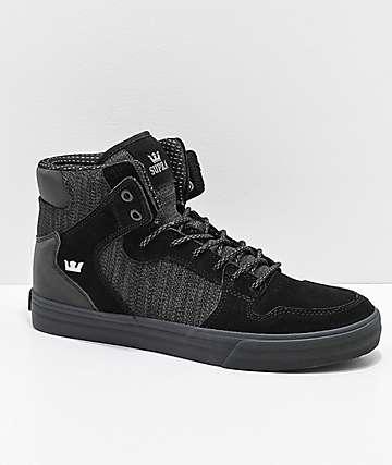 Supra Vaider Black, Charcoal Reflective Suede & Canvas Skate Shoes