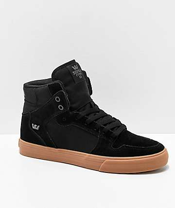 Supra Vaider Black, Gum, Suede & Canvas Skate Shoes
