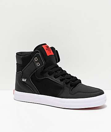 Supra Vaider Black, White & Red TUF Skate Shoes