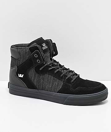 Supra Vaider Black & Charcoal Reflective Suede & Canvas Skate Shoes