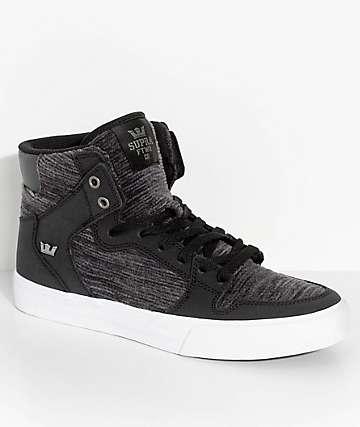 Supra Vaider Black & White Corduroy Skate Shoes