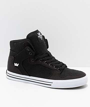 Supra Vaider Black & White Mixed Canvas Skate Shoes