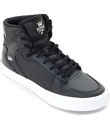Supra Vaider Black Canvas & Leather Kids Skate Shoes
