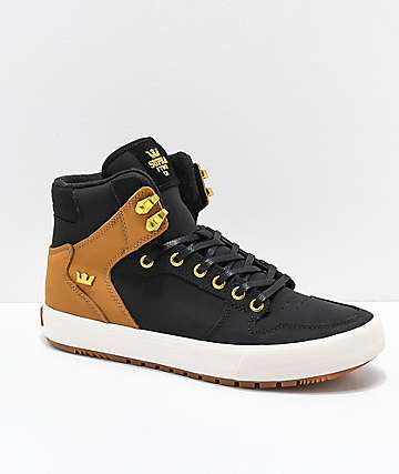 35568581e786 Supra Vaider CW Black   Tan Skate Shoes
