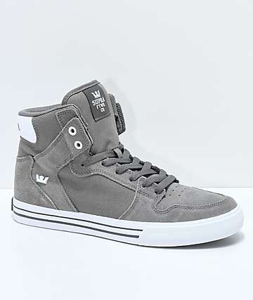 ed55732b8390 Supra Vaider Charcoal Suede   Canvas Skate Shoes