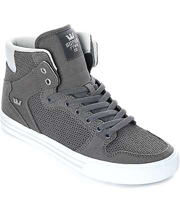 Supra Vaider Grey & White Canvas Knit Skate Shoes