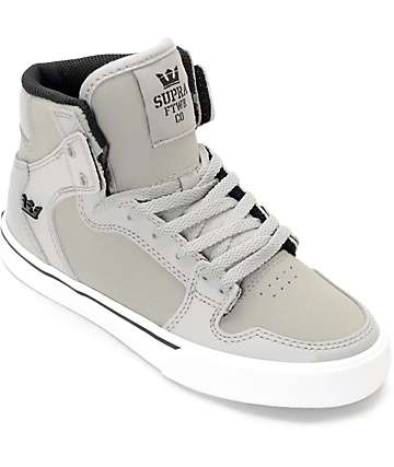 Supra Vaider Grey & White Suede Kids Shoes