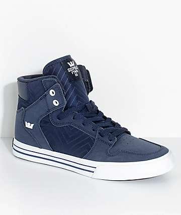 Supra Vaider Midnight zapatos skate de ante y nylon azul