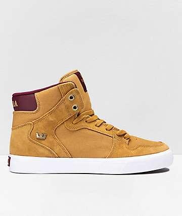 Supra Vaider Tan, Wine & White Skate Shoes