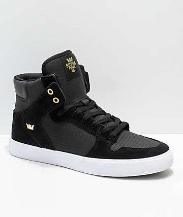 Supra Vaider zapatos de skate de ante negro y oro