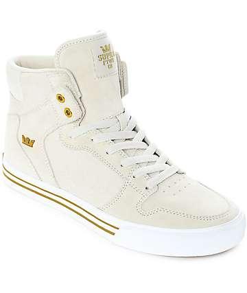 Supra Vaider zapatos de skate de ante y lienzo en color crema