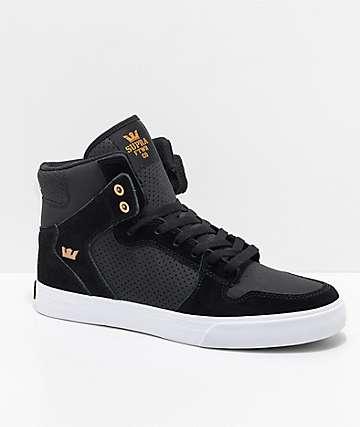 Supra Vaider zapatos negros de skate de ante y cuero perforado