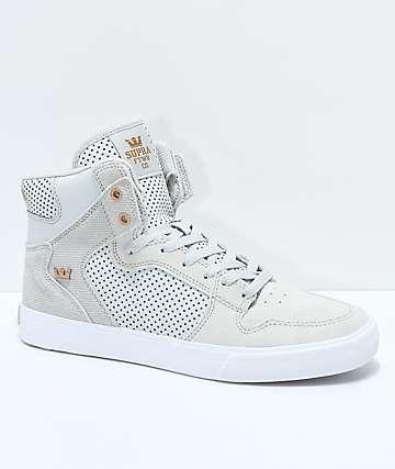Supra Vaider zapatos skate de cuero y ante gris
