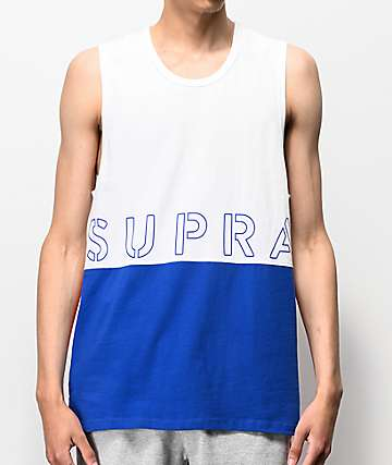 01e983061c6 Supra White, Blue & Red Colorblock Tank Top