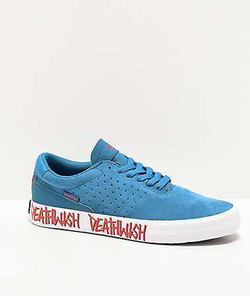 Supra x Deathwish Lizard King Blue & White Skate Shoes