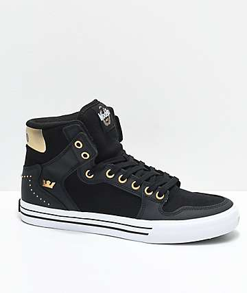 Supra x Modelo Vaider Negra Black, Gold & White Skate Shoes