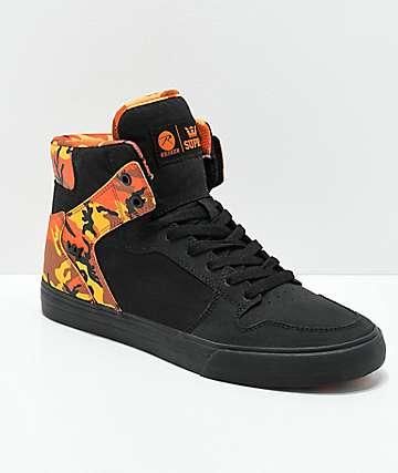Supra x Rothco Vaider Black & Savage Orange Camo Skate Shoes