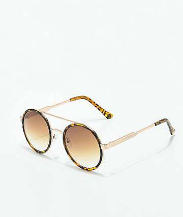 Sure Shot Gold Tortoise Round Sunglasses