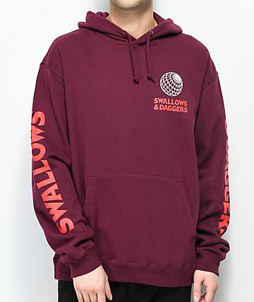Swallows & Daggers 8-Ball Web Burgundy Hoodie