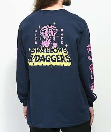 Swallows & Daggers Bite Back Navy Long Sleeve T-Shirt