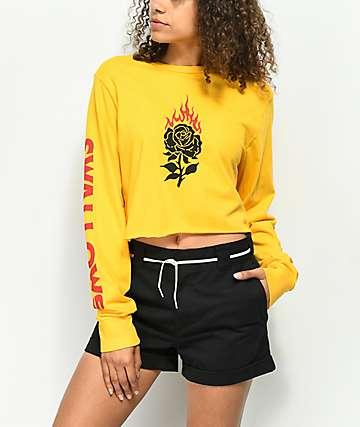 Swallows & Daggers Burning Rose Gold Crop Long Sleeve T-Shirt
