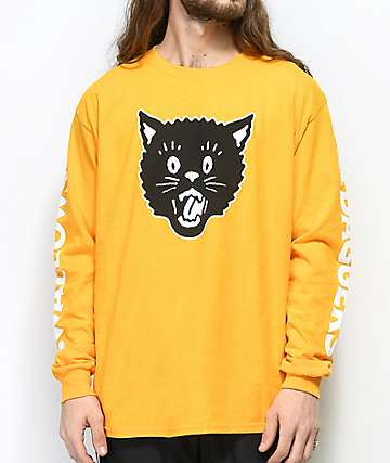 Swallows & Daggers Cat Head Yellow Long Sleeve T-Shirt