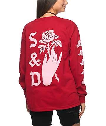 Swallows & Daggers Hand Picked Roses camiseta roja de manga larga