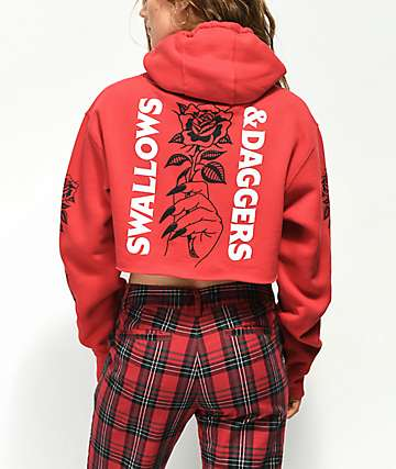 Swallows & Daggers Hand Roses Red Crop Hoodie