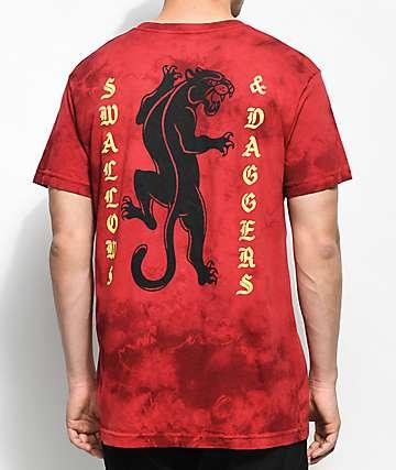 Swallows & Daggers Panther camiseta roja con efecto tie dye