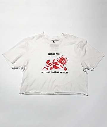 Swallows & Daggers Roses Fall White Crop T-Shirt