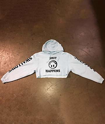 Swallows & Daggers Shit Happens White Crop Hoodie