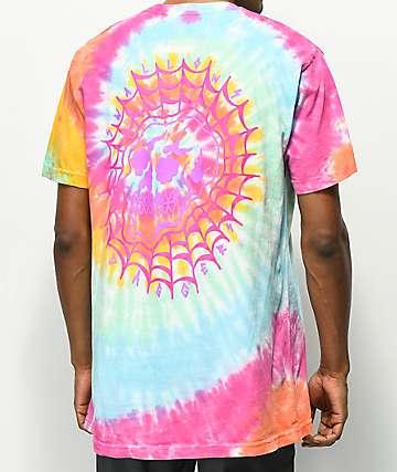 Swallows & Daggers Skull Web camiseta con efecto tie dye