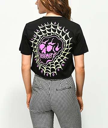 Swallows & Daggers Skull Web camiseta corta negra