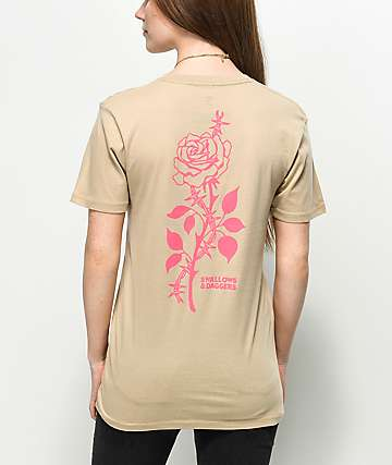 Swallows &amp, Daggers Rose Thorn Sand T-Shirt