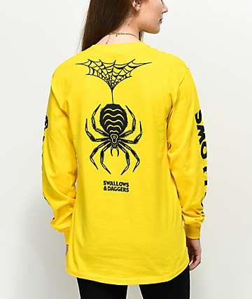 Swallows &amp, Daggers Spider Web Yellow Long Sleeve T-Shirt