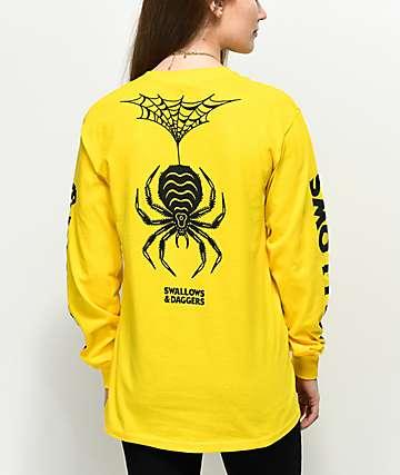 Swallows & Daggers  Spider Web camiseta amarilla de manga larga