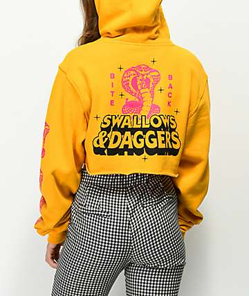 Swallows & Daggers Bite Back Yellow Cropped Hoodie
