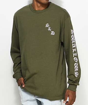 Swallows & Daggers Dog Long Sleeve Green T-Shirt