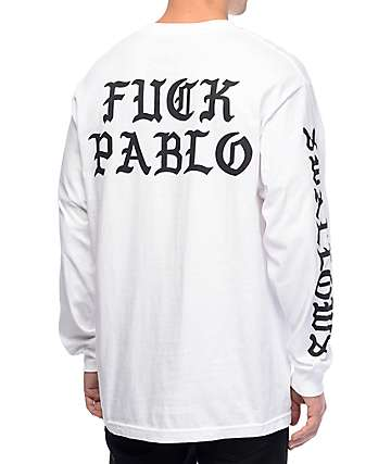 Swallows & Daggers Fuck Pablo Long Sleeve White T-Shirt