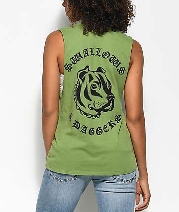 Swallows & Daggers Pitbull And Chains Muscle Green Tank Top
