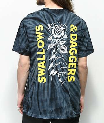 Swallows & Daggers Rose Hand camiseta en color carbón con efecto tie dye