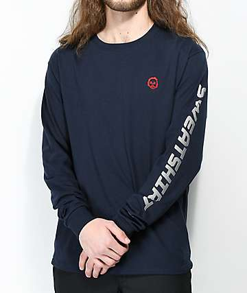 Sweatshirt By Earl Sweatshirt Premium Navy Long Sleeve T-Shirt