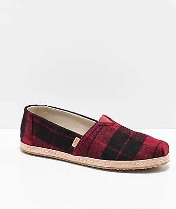 TOMS Classic Alpargata Red Plaid Shoes